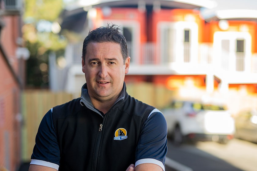 Royal Wolf Business Development Manager (Tasmania) Michael Nicholson has steered the crisis accommodation project that has seen 18 converted shipping containers become homes for men at Bethlehem House. Photo: Nick Hansen