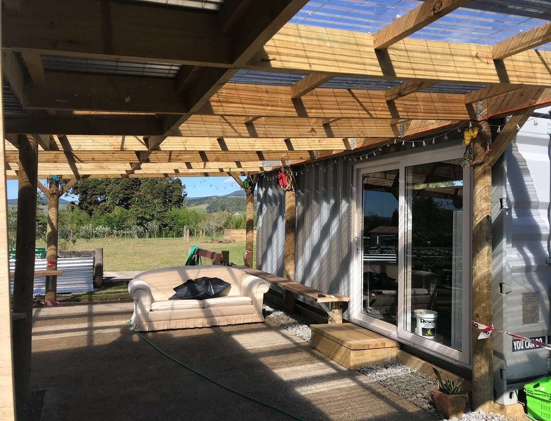 The modified Royal Wolf shipping container for Waikino School